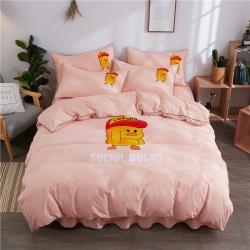 伊家紡 簡約韓版加厚磨毛純色床裙款床罩四件套 小黃鴨-玉色