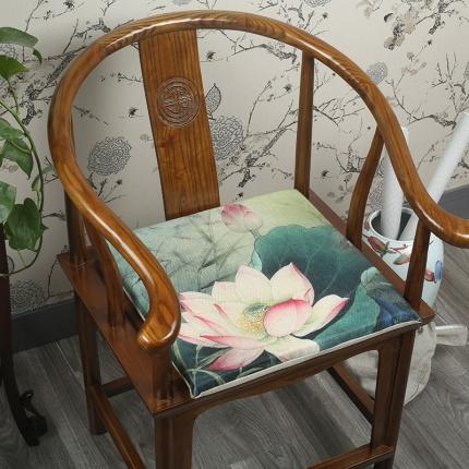 (总)雷晓家居 2018新款中式荷花红木沙发抱枕坐垫