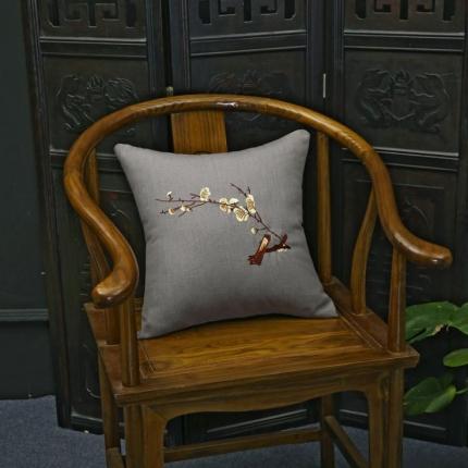 (总)雷晓家纺 中式绣花红木沙发靠垫