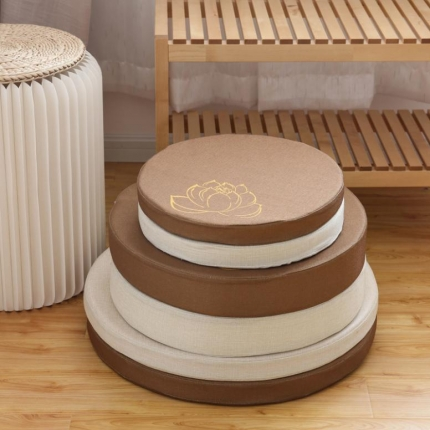 (总)雷晓家纺 圆形莲花系列红木沙发坐垫