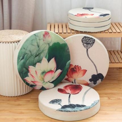 (总)雷晓家纺 圆形荷花系列红木沙发坐垫