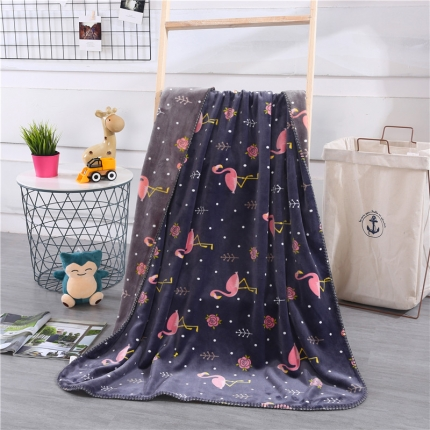 网客家纺 baby blanket双层加厚儿童绒毯 火烈鸟