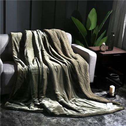 网客家纺 ULTIMATE顶级羊羔绒毛毯升级版棕石绿