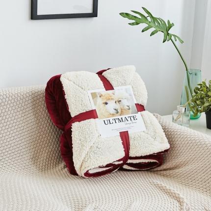 网客 潮牌双层羊羔绒毛毯 西班牙红