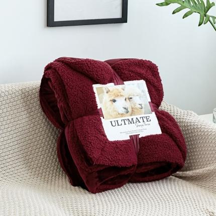 网客 潮牌双层羊羔绒毛毯 西班牙红同色