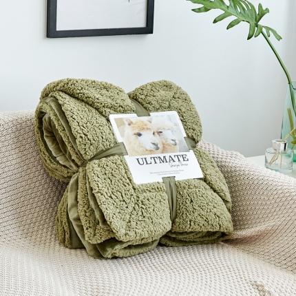网客 潮牌双层羊羔绒毛毯 棕石绿同色