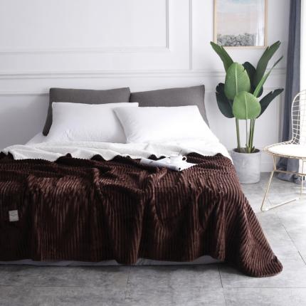 网客家纺 魔法绒羊羔绒复合毛毯 巧克力咖