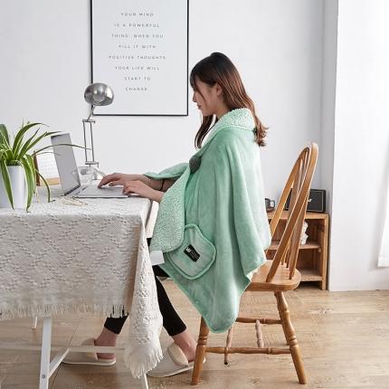 网客家纺 2018新款羊羔绒懒人多功能披肩毯抹茶绿