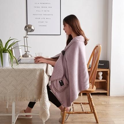 网客家纺 2018新款羊羔绒懒人多功能披肩毯藕粉
