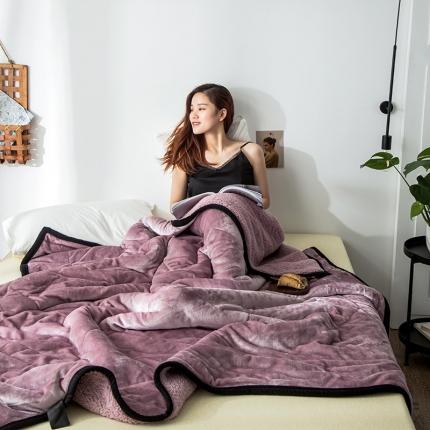 网客 2019法莱绒+羊羔绒毛毯 藕粉