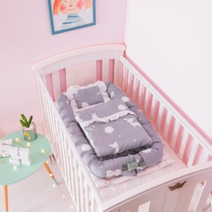 益家小太阳 儿童床中床 婴儿床中床 婴童床中床三件套鹿与萌兔