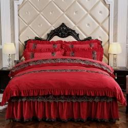 歐詩藍家紡 可拆卸水晶絨寶寶絨保暖夾棉床裙四件套蒙娜麗莎紅色