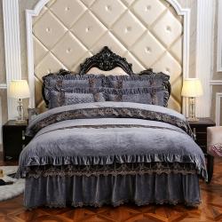歐詩藍家紡 可拆卸水晶絨寶寶絨保暖夾棉床裙四件套蒙娜麗莎灰色