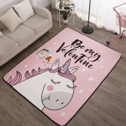 会生活 北欧风新款居家水晶绒大版地垫爬行垫床边毯 彩虹马