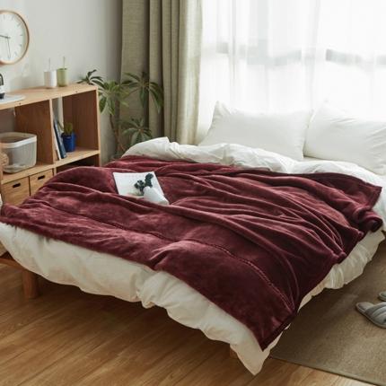 寐眠 无印法莱绒厚毛毯酒红色