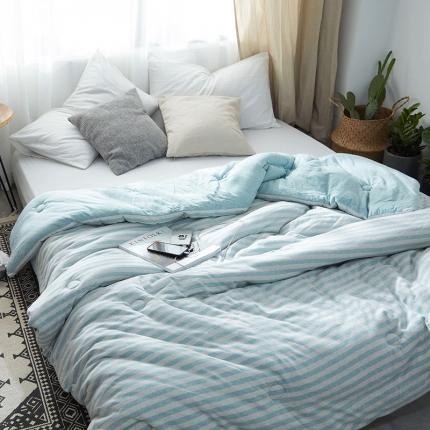 寐眠家纺 简约针织冬被 水蓝中条