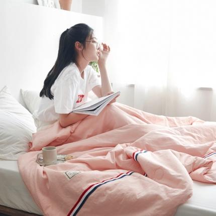 寐眠家纺 2018新款水洗棉织带款夏被 淡粉色