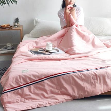 寐眠家纺 2018新款水洗棉织带款夏被 桃粉色