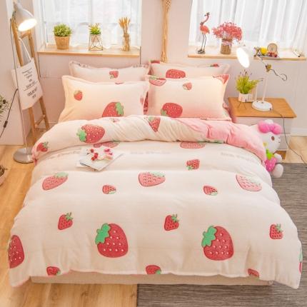 天乐 2019新款立体雪花绒法莱绒四件套 甜心草莓