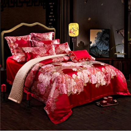 百度禧约 色织高精密提花四件套 花好月圆红