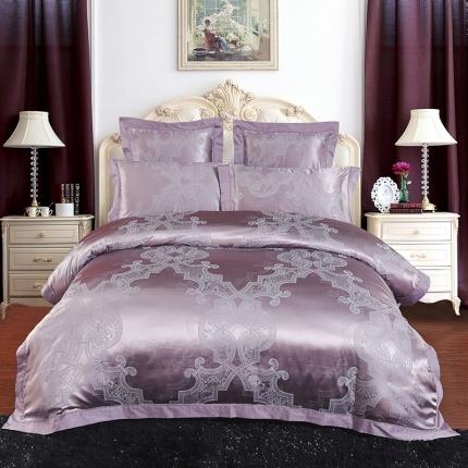 百度禧约 2019新款55%真丝提花六件套罗马恋情-紫色