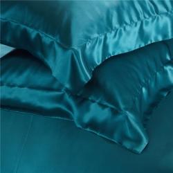 赫本 2019新款全真絲寬邊款枕套48*74+8/對 孔雀藍