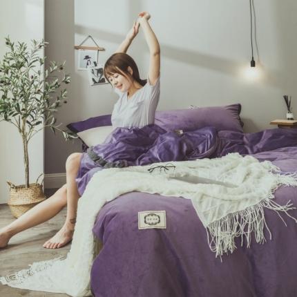 菊上家纺 2019-秋冬保暖水晶绒牛奶绒纯色风四件套床单床笠