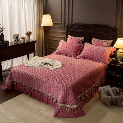 菊上家纺  2019新款贵妃绒系列单品床盖 玫瑰粉