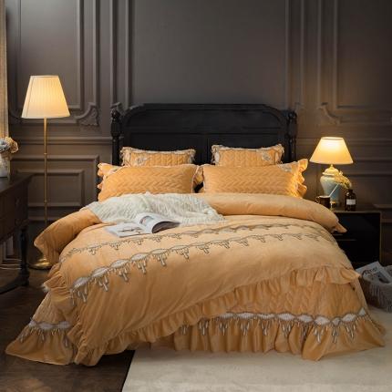 菊上家纺  2019法式浪漫贵妃绒系列单品床盖四件套 杏黄色