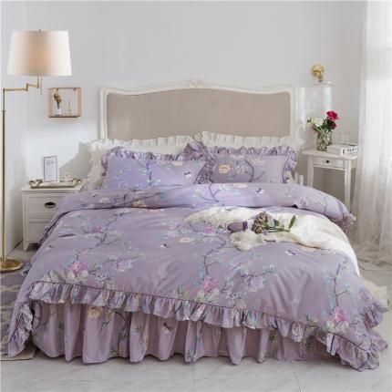 菊上家纺 2019美式床裙四件套铂金系列 安娜苏紫