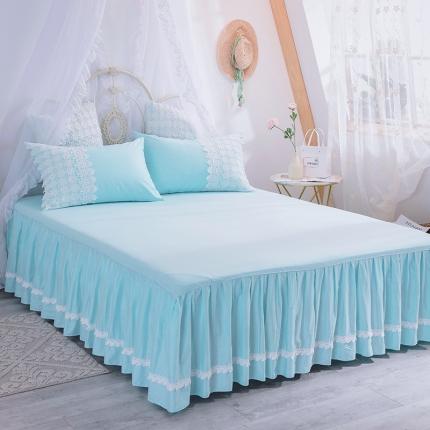 菊上家纺 2019法式浪漫蕾丝床裙 冰蓝