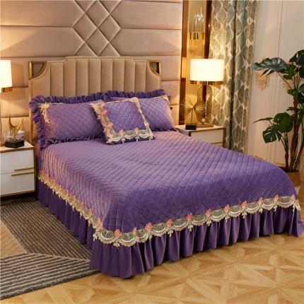 菊上家纺 2019雅典娜水晶绒加厚夹棉单品床盖 水晶紫