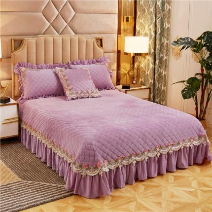 菊上家纺 2019雅典娜水晶绒加厚夹棉单品床盖 香芋紫
