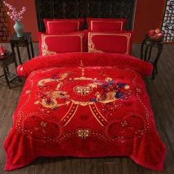 丹兰拉舍尔毛毯大红婚庆天丝毯结婚云毯法兰绒龙凤喜字 游龙戏凤