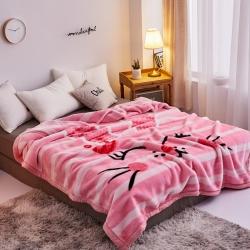 丹兰家纺 双层加厚拉舍尔毛毯冬季保暖毛毯被 粉红小兔