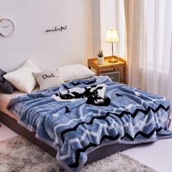 丹兰家纺 双层加厚拉舍尔毛毯冬季保暖毛毯被 北欧鹿