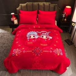 丹蘭拉舍爾毛毯大紅婚慶天絲毯加厚結婚云毯法蘭絨 相親相愛