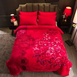 丹蘭拉舍爾毛毯大紅婚慶天絲毯加厚結婚云毯法蘭絨 永恒愛戀