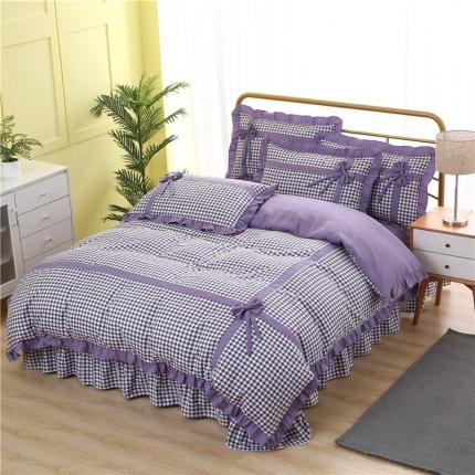 芭比蔓家纺 水洗针织棉三件套四件套 蝶恋-紫