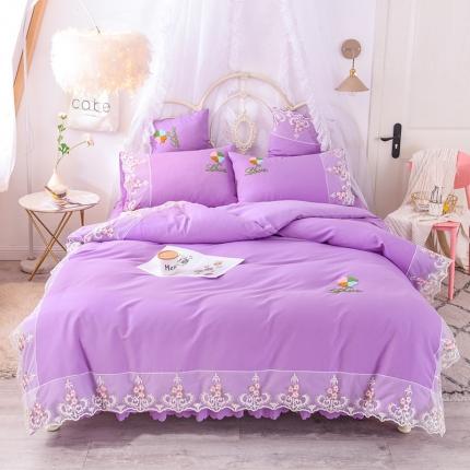 芭比蔓 2019新款亲肤毛巾绣四件套 至爱-浪漫紫