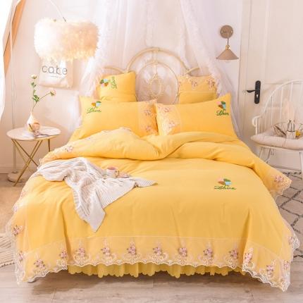 芭比蔓 2019新款亲肤毛巾绣四件套 至爱-柠檬黄