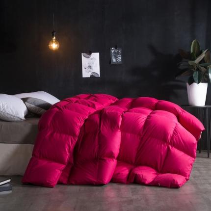 绒品优家 纯棉时尚超柔羽绒被 玫红色