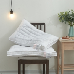 明星枕业 全棉立体荞麦两用定型羽丝枕芯 白色