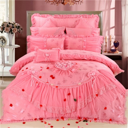 浩情国际 新款韩版蕾丝婚庆多件套 玫瑰家园-粉色