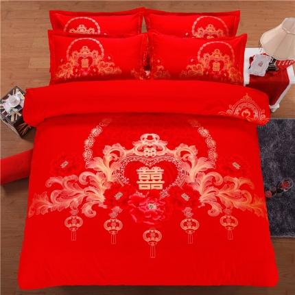 浩情国际 80支加厚全棉大版花四件套 贵族牡丹