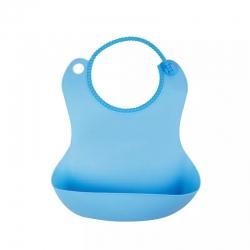 米卡寶貝 嬰幼兒防水圍兜硅膠 藍色