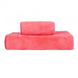 贝拉萌 2019新款珊瑚绒毛巾浴巾 西瓜红(毛巾+浴巾)