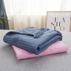 (总)贝拉萌 北欧原单全棉加竹纤维多功能盖毯华夫格家居毯