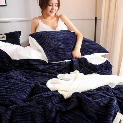 金莎浪新款简易针织纹宝宝绒四件套简易针织纹宝宝绒--宝蓝2