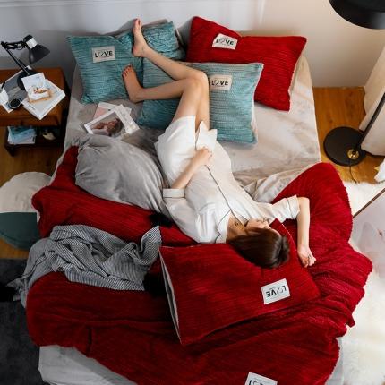 金莎浪新款简易针织纹宝宝绒四件套简易针织纹宝宝绒--酒红4